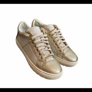 Geox Respira Gold Italian Patent Lace Up Sneaker